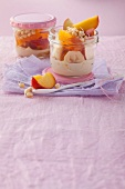 Almond mousse with fruits and bean sprouts