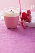 Raspberry and soya milk smoothies