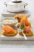 Smoked salmon on carrot cakes