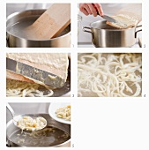 Hand cut Spätzle (soft egg noodles from Swabia) being boiled