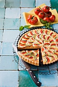 Tomato and courgette quiche