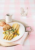 White asparagus with an egg and chive vinaigrette