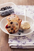 Mini blueberry pancakes with vanilla ice cream
