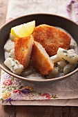 Breaded celeriac escalopes