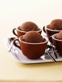 Chocolate ice cream in cups
