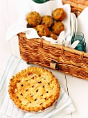 Pumpkin muffins and a fruit pie for a picnic