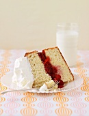 A slice of sponge cake with strawberry and raspberry filling