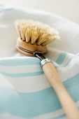 Washing-up brush on tea-towel