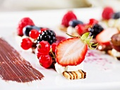 A desert made with fresh berries and slices of layer cake