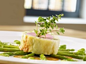 Pork fillet wrapped in brick dough with Thai green asparagus