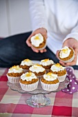 Carrot muffins on a cake stand
