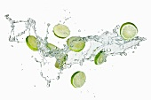 Slices of lime in water