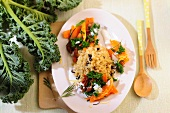 Fried green cabbage and carrots with bulgur wheat and currants