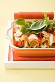 Cannelloni ai funghi (mushroom filled pasta tubes, Italy)