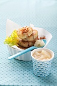 Potato cakes with pear compote