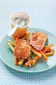 Salmon with vegetable crudités and a herb yoghurt dip