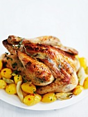 Roast chicken with spiced butter and potatoes