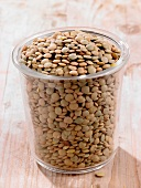 Organic laird lentils in a glass