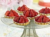Mini Strawberry Tarts on a Wire Pedestal Dish