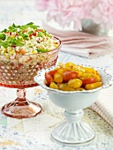 Grape Tomato Salad and Cole Slaw in Serving Dishes