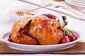 Roast chicken with a honey glaze