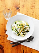 Shell pasta with courgettes