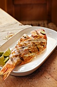 Grilled red snapper with garlic and limes