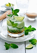 A mojito with rum, brown sugar and mint