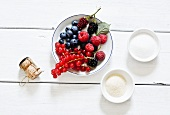 Ingredients for champagne jelly with berries