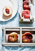 Vineyard peaches in wooden boxes
