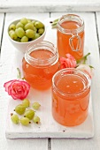 Jars of gooseberry and rose petal jelly