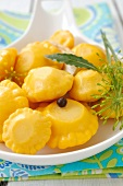 Pickled pattypan squashes