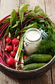 Ingredients for cold beetroot soup (beetroot, gherkins, radishes, dill, kefir)