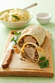 Pork fillet and mushrooms wrapped in puff pastry