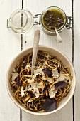 Spaghetti with purple basil pesto and Parmesan cheese