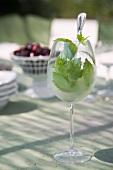 Drink mit Pfefferminzblättchen im Weinglas auf Tisch mit Licht und Schatten