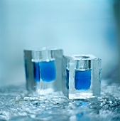 Shot glasses in ice cubes