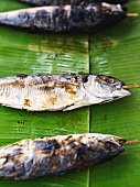 Grilled fish on a banana leaf