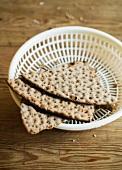Crisp bread in a plastic basket