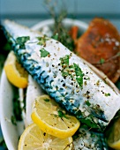 Grilled mackerel with lemons and herbs