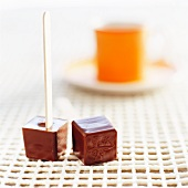 Square chocolate cake pops