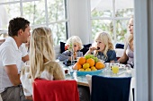 A family eating breakfast
