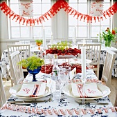 A table laid with crayfish for a party