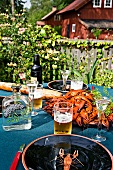 Crayfish on a table in a garden (Sweden)