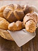 Assorted bread rolls in a bread basket