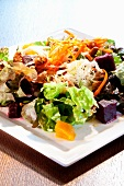 Organic Green Salad with Walnuts, Peaches and Roasted Beets