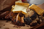 Barbecue Ribs with Bread from Smitty's Barbecue in Lockhart Texas