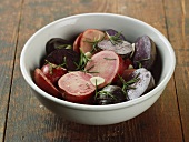 Organic Red and Purple Potatoes with Rosemary and Olive Oil for Roasting from Skoloff Valley Farm in Pennsylvania