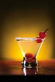 Cherry Martini with Sugared Rim
