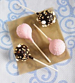 Cake Pops; Vanilla Cake with Pink Icing and Sprinkles; Chocolate Cake with Rocky Road Topping
